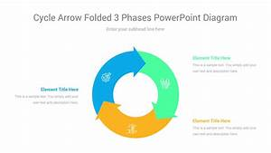 Cycle Arrow Folded 3 Phases Powerpoint Diagram