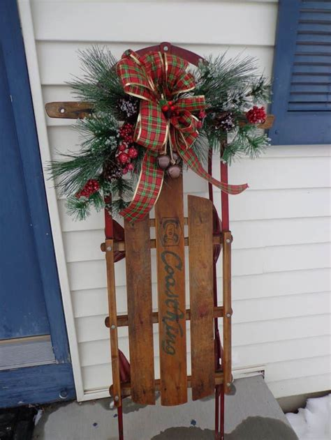 winter home decorations  purposing sleighs skis