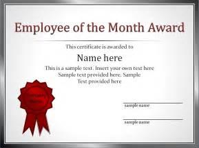 employee of the month award resume employee award certificate templates
