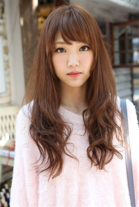 cute asian long hairstyle with bangs hairstyles weekly