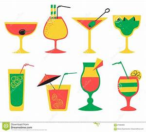 Vector Set With Alcohol Cocktails. Flat Cartoon Style ...