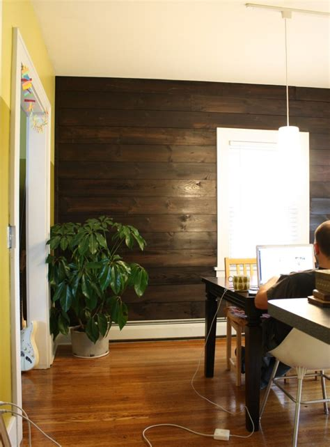 Dark Brown Couch Decorating Ideas by Installing Shiplap In Our Dining Room Merrypad