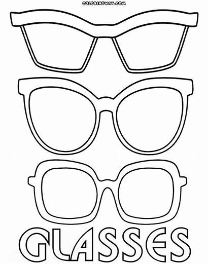 Glasses Coloring Template Pages Sunglasses Printable Eyewear