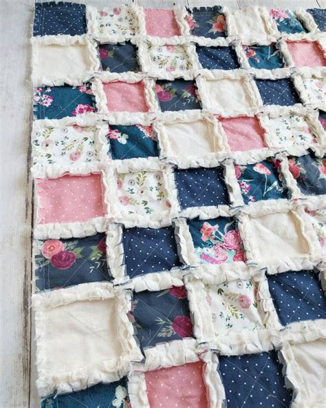 Navy Blue And Pink Floral Quilt Floral Crib Bedding For Baby