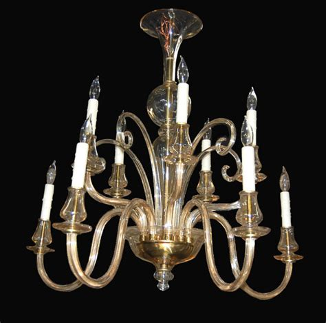 high style blown glass chandelier for sale antiques