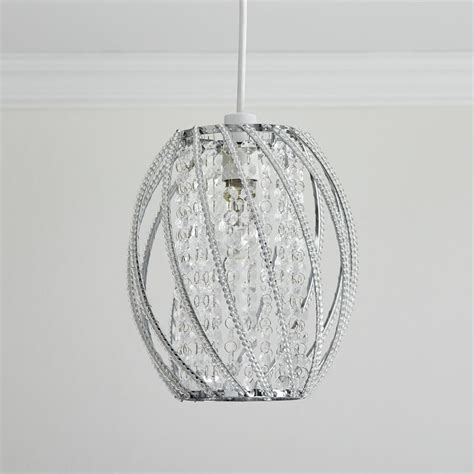 wilko oval twist beaded pendant shade clear at wilko