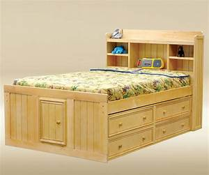 Full Size Natural wood finish Captains Bed with Storage