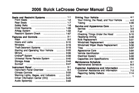 2007 Buick Lacrosse Owners Manual by 2006 Buick Lacrosse Owners Manual Just Give Me The Damn