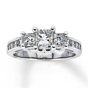 14k white gold engagement rings three ring 2 ct tw princess cut 14k white gold