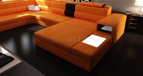 polaris sectional sofa  orange bonded leather  vig
