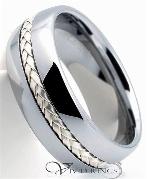 mens tungsten carbide dome wedding band 925 silver inlay