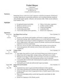 resume exle for server bartender food server resume objective server resume skills resume cv cover doc 618800 10 server resume