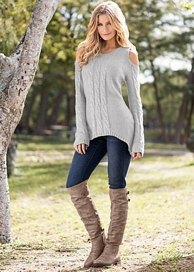 Light Grey Cold Shoulder Sweater Jeans Boots From Venus
