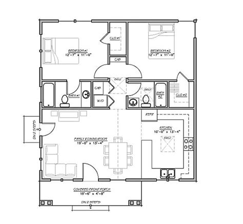 30x30 2 bedroom floor plans craftsman style house plan 2 beds 2 baths 930 sq ft plan
