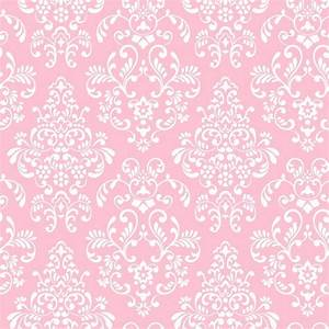 WALLPAPER BY THE YARD Pink White Damask Wallpaper