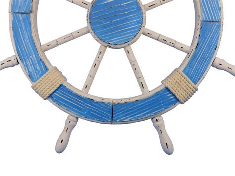 Boat Steering Wheel Home Decor by Buy Wooden Rustic Light Blue And White Decorative Ship