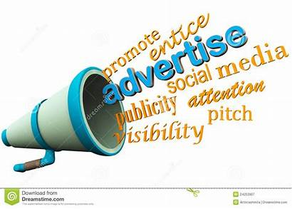 Advertise Loudspeaker Clipart Bullhorn Advertize Promotion Words