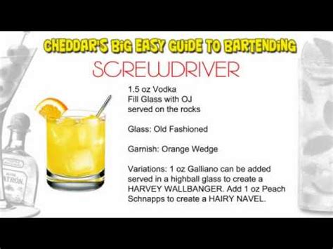 screwdriver recipe cheddar s cocktail recipes screwdriver harvey wallbanger youtube