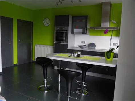 cuisine chocolat et vert anis déco salon vert anis et gris