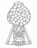 Gumball Coloring Machine Colouring Printable Ball Gum Retro Adults Template 17qq Line Dispenser Pressing Pop Wickedbabesblog sketch template