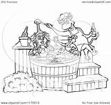 Bbq Chicken Sauce Chef Tub Pig Bull Cartoon Female Pouring Outlined Clipart Lafftoon sketch template