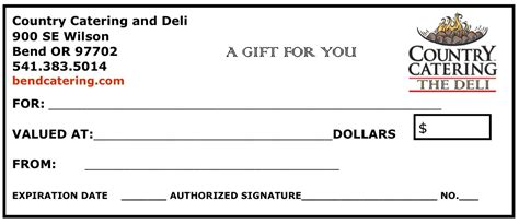 holiday gift certificates  ideasthe country catering