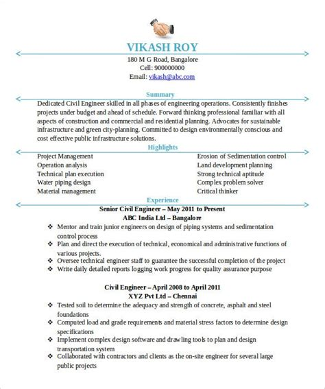 Enhance your civil engineer resume by incorporating our professionally written summary, skills and work experiance examples into your resume. 20+ Civil Engineer Resume Templates - PDF, DOC | Free & Premium Templates