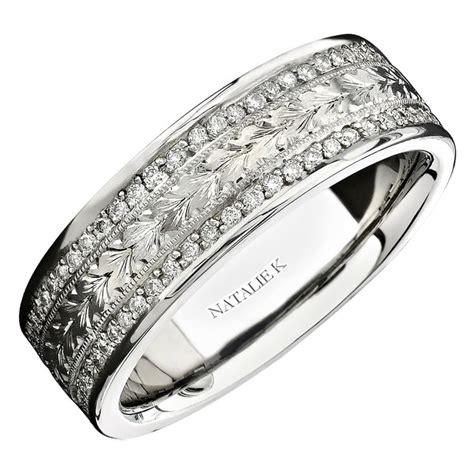 natalie k men s diamond style 18k white gold eternity wedding band ring rings