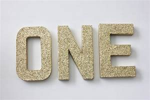 One glitter letters free standing sign letter paper mache for Silver letters freestanding