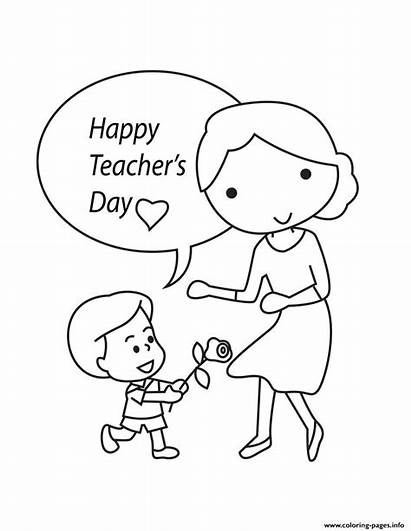 Teachers Coloring Pages Teacher Happy Drawing Printable