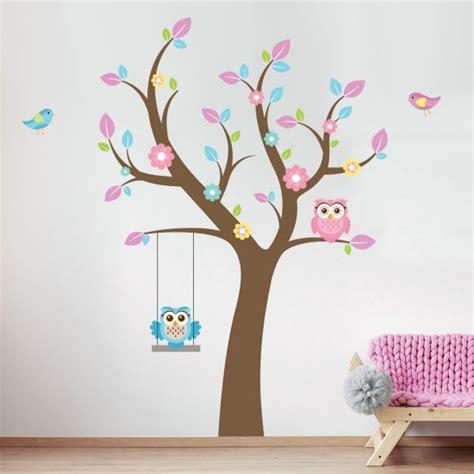 uilen op schommeltak muursticker muurstickerstunternl