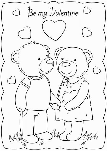 Valentine Coloring Valentines Card Cards Printable Pages