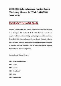 2008 2010 Subaru Impreza Service Repair Manual Download