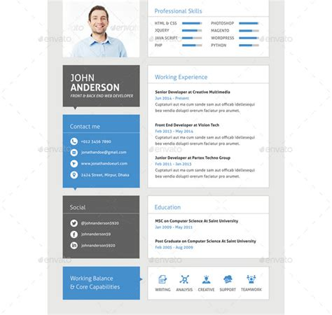 Developer Resume Template Psd by 25 Web Developer Resume Templates Free Psd Word