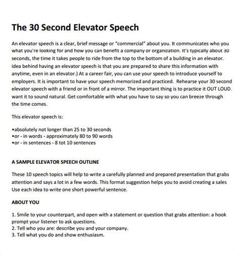 Elevator Pitch Template 8 Elevator Speech Sles Sle Templates