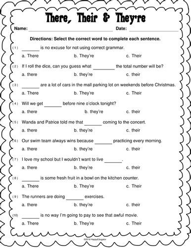 There, Their, And They're Worksheet By Happyedugator  Teaching Resources Tes