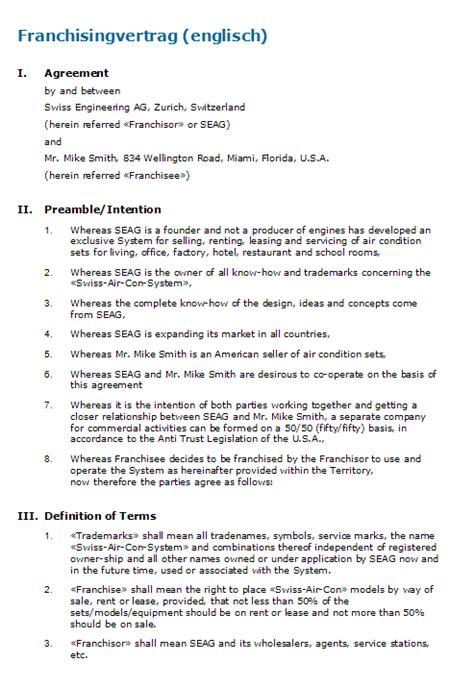 franchisingvertrag englisch vorlage zum