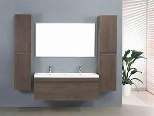Meuble Double Vasque Suspendu : salle de bain meuble zen 2 grand meuble salle de bain double vasque suspendu avec 2 colonnes ~ Melissatoandfro.com Idées de Décoration