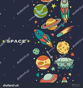 Seamless Pattern With Space, Rockets, Comet, Planets And ...