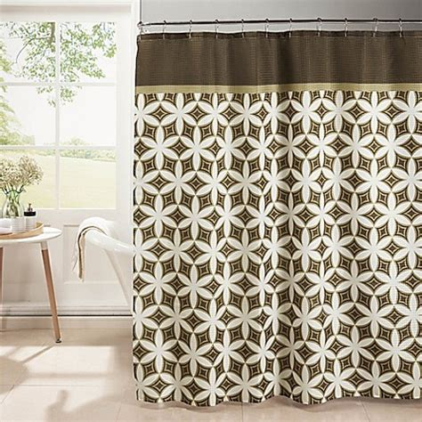 moroccan shower curtain buy moroccan tile shower curtain with rings in chocolate