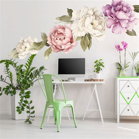 floral wall mural large peony wall stickers watercolor