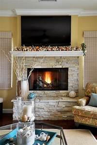 Fireplace, Design, Enhances, Living, Room, U0026, 39, S, Beachy, Feel