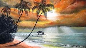 how to draw sunset at palm with pastel part 1
