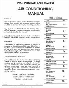 1965 Pontiac Air Conditioning Shop Manual Gto Tempest
