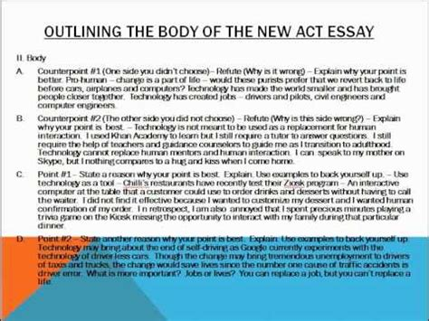 How To Write The New Act Essay Youtube