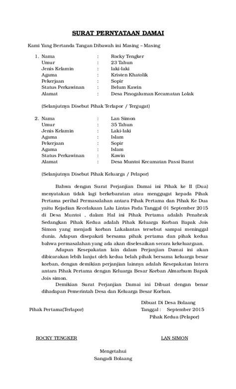 surat pernyataan damai isnaini puhi academiaedu