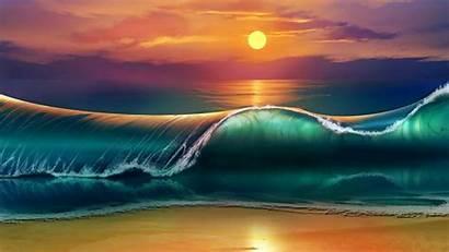 Sunset Beach 4k Wallpapers Desktop Waves Wave