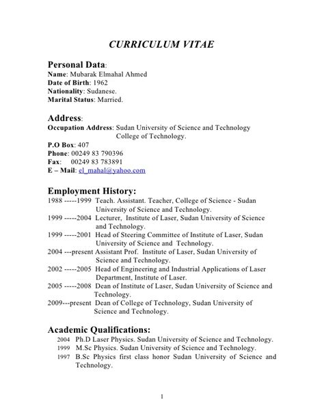 17 Year Resumes by Curriculum Vitae Curriculum Vitae Exles For 16 Year