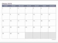 Calendario ottobre 2018 da stampare iCalendarioit