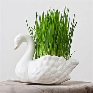 Porcelain Swan Planter Vase: Vintage Flower Pot, Bird